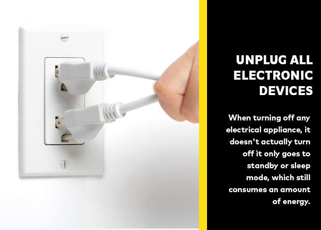 Unplug all electronic devices