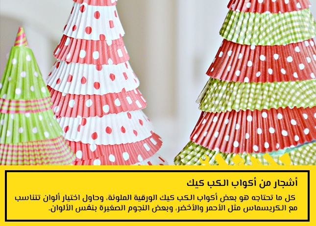 1- أشجار من أكواب الكب كيك