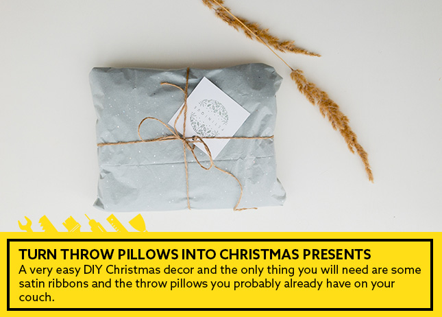 5- Turn throw pillows into Christmas presents