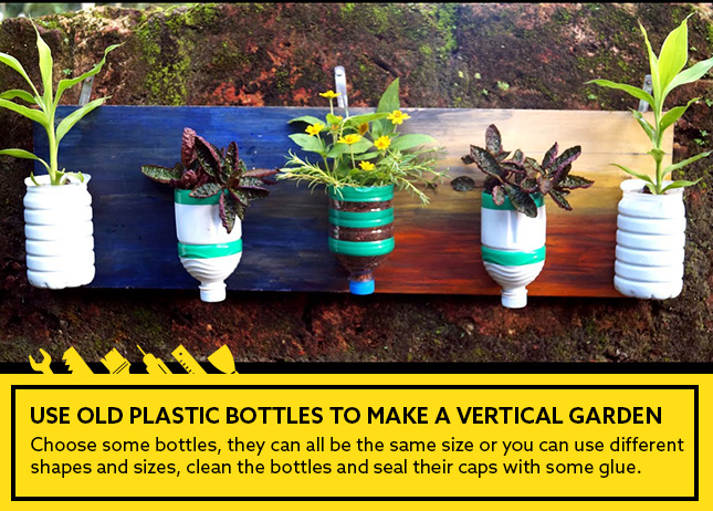 Use old plastic bottles to make a vertical garden