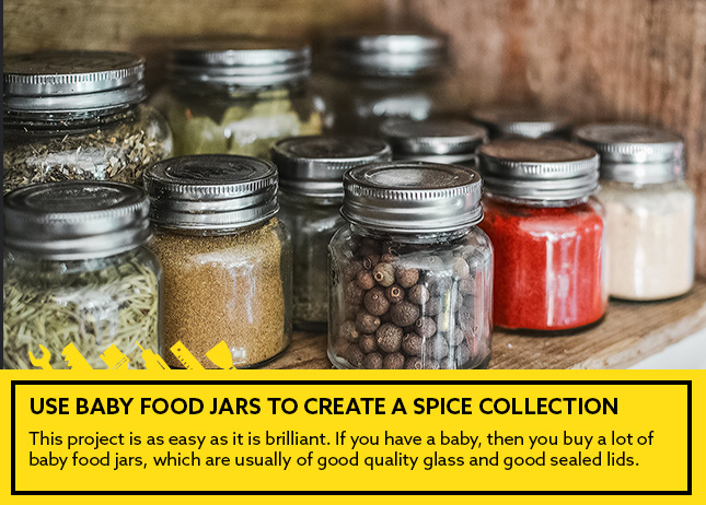 Use baby food jars to create a spice collection
