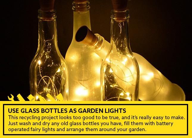 Use glass bottles as garden lights